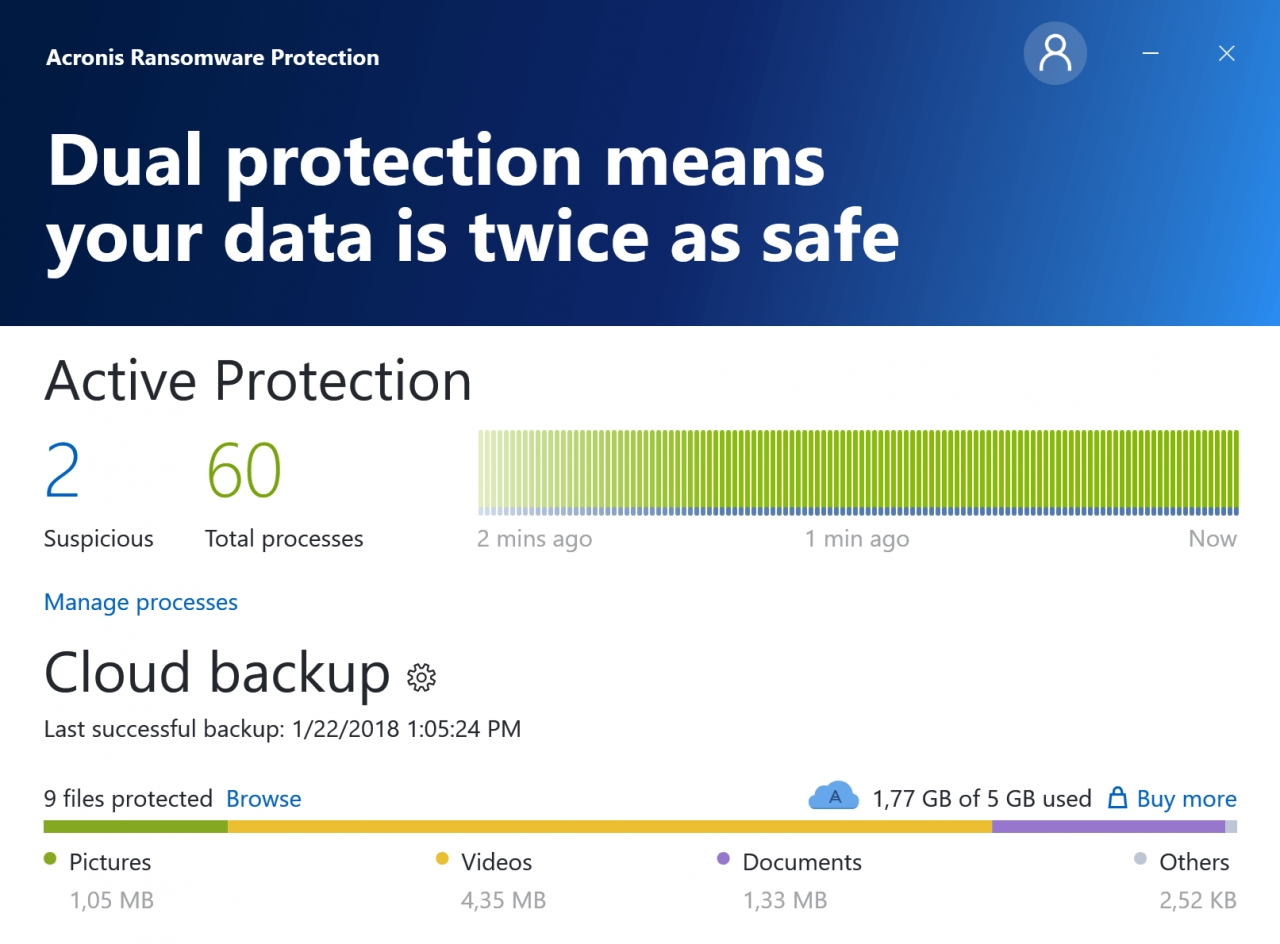Acronis Ransomware Protection 시연 이미지
