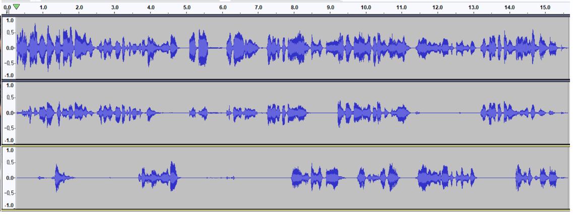 두 명의 화자가 겹쳐서 발화하는 음성에서 화자별로 음성을 분리하는 시연이미지